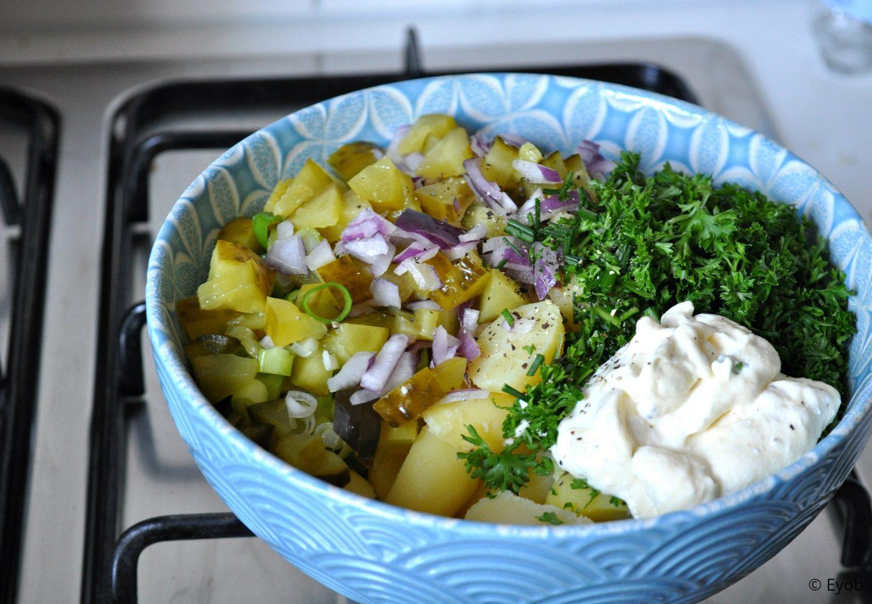 Aardappelsalade met crème fraîche