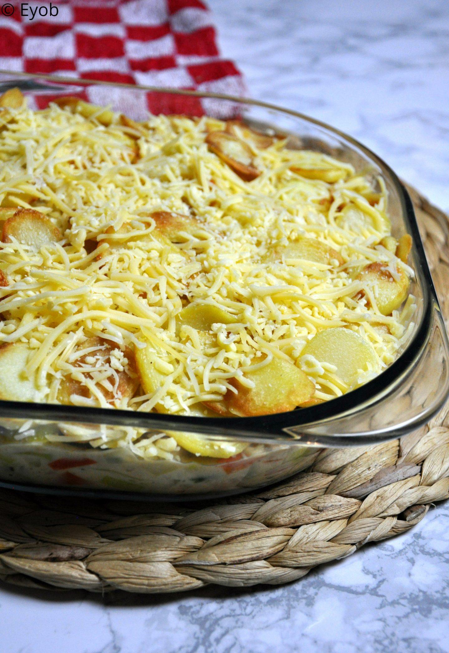 Aardappel anders ovenschotel met sperziebonen